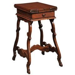 Italian 1820 Walnut Side Table with Folding Top and Baroque Lyre Shaped Legs