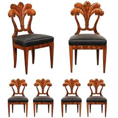 Set of Six Viennese Biedermeier Dining Chairs with Horsehair Seats, circa 1825