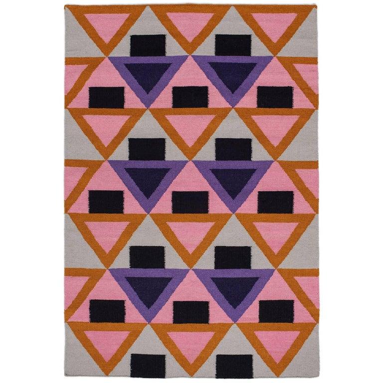 Aelfie Morgan Modern Dhurrie Handwoven Geometric Pink Purple Colorful Rug For Sale
