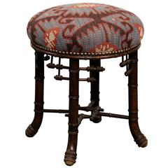 French Chinese Chippendale Style Upholstered Stool from the Turn of the Century