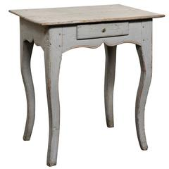 Country French Early 19th Century Light Grey Petite Side Table, Single  Drawer