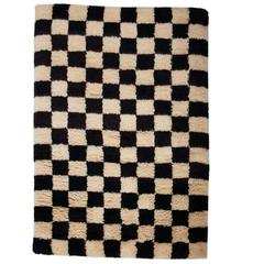 AELFIE Checkerboard Black & White Shag Modern Geometric Hand-Knotted Rug Carpet