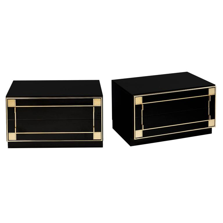 French Lacquered Side Tables by Pierre Cardin