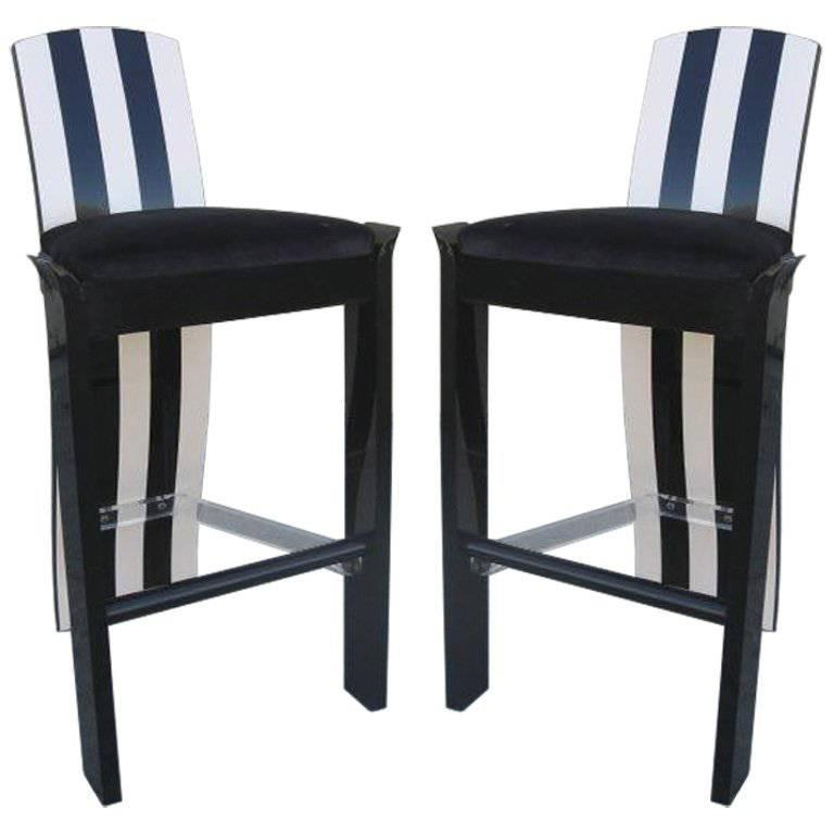 Pair Of Lucite And Brass Barstools At 1stdibs