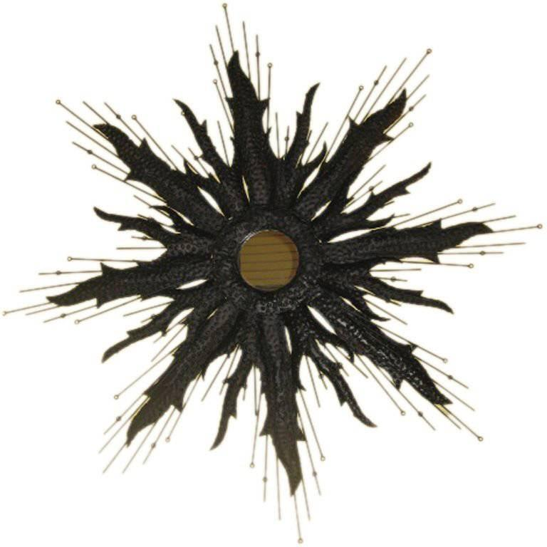 Large Brutalist Sunburst Mirror in the Style of Curtis Jere