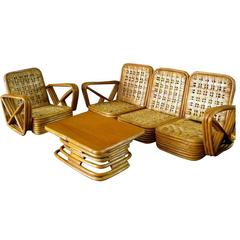 Paul Frankl Salesman Sample Miniature Rattan Furniture, circa 1950