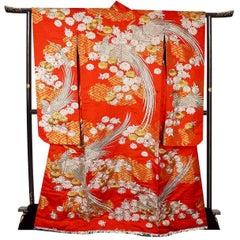 Japanese Kimono Embroidered Gold Silver Silk, Wedding Dress Art Deco Style