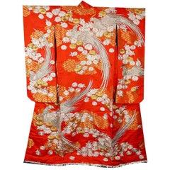 Vintage Silber Gold Seidenbrokat Japanischer Zeremoniellen Kimono, Art Deco Stil