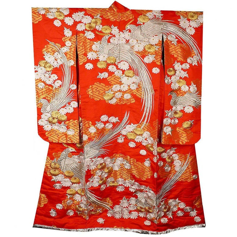 Vintage Silk Silver Gold Brocade Japanese Ceremonial Kimono, Art Deco Style