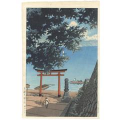 1931 Shin-Hanga Print, Japanese Woodcut Woodblock Print, Torii by Chuzenji, Blue