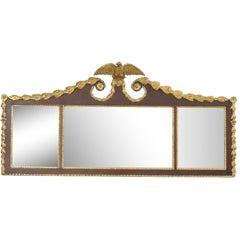Biggs Federal Style Parcel Gilt Mahogany Three Panel Overmantel Wall Mirror