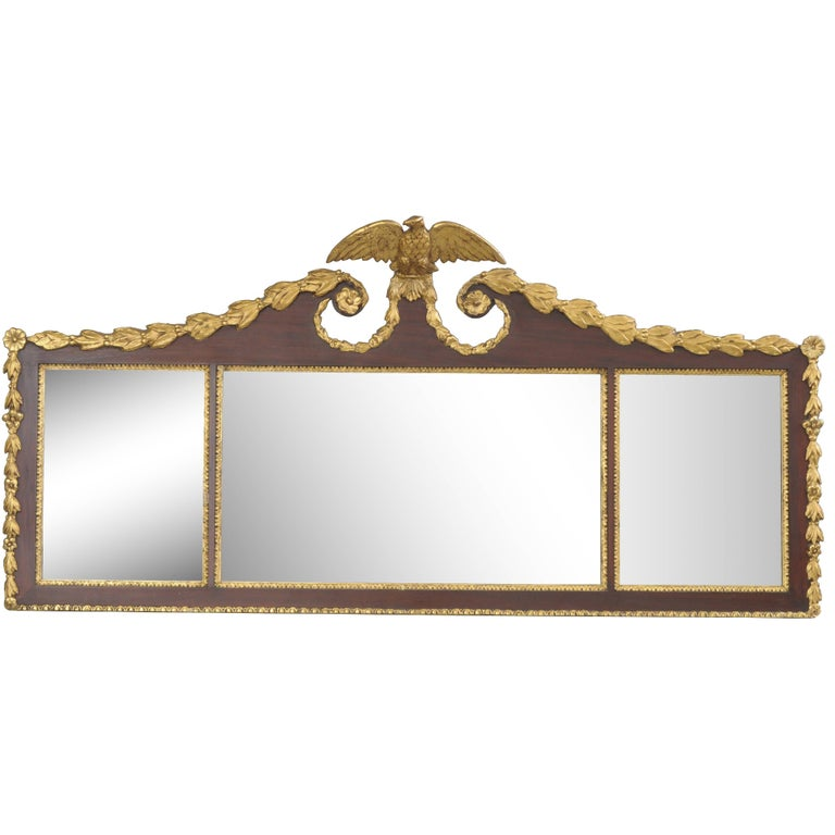 Biggs Federal Style Parcel Gilt Mahogany Three Panel Overmantel Wall Mirror For Sale