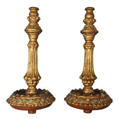 Pair of Gilt Gessoed Candleholders with Mirrored Mosaic Inlay