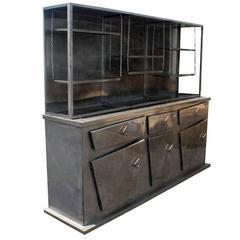 Postmodern Metal Breakfront Display Cabinet