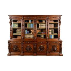 Monumental Antique French Oak Hand-Carved Hunters Bookcase, 19th Century
