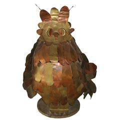 Unique Brass Owl Lamp in the Style of Jere
