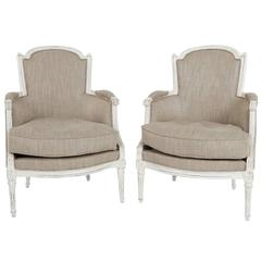 Pair of French Louis XVI Bergères Chairs 18th Century Gustavian/Shabby Chic Styl
