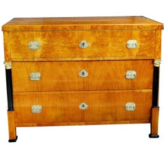 Chest of Drawers Late Empire Early Biedermeier Commode with Commemorative Pulls