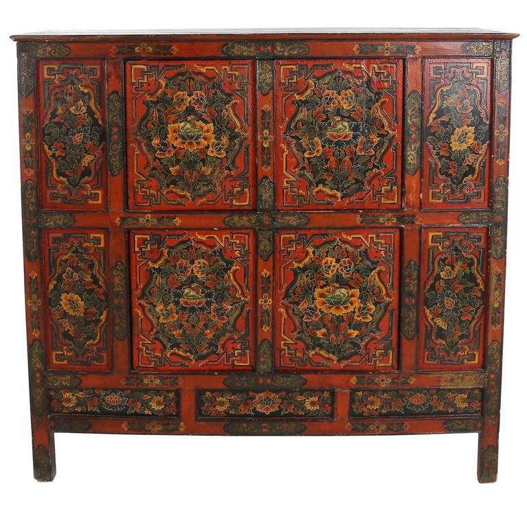 Family Altars For Sale: Tibetan 19th Century Altar Cabinet With Original Painting