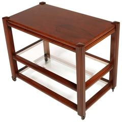 Mid-Century Modern Coffee Table Bar Cart Mahogany, Frattini Per Saporiti, 1960s