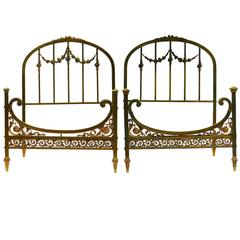Rare Pair of Twin Beds Single French Belle Époque Bronze Iron Brass