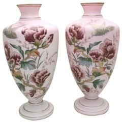 Pair of Handblown Aesthetic Movement Hand-Painted Rose Pink Crystal Vases
