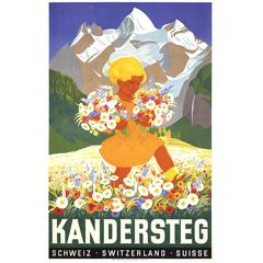 Colorful Swiss 1930s Travel Poster by Peter Franz Moos