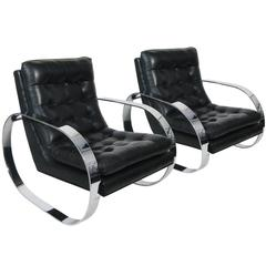 Pair of Armchairs, Chrome with Leather, Mexico, circa 1970