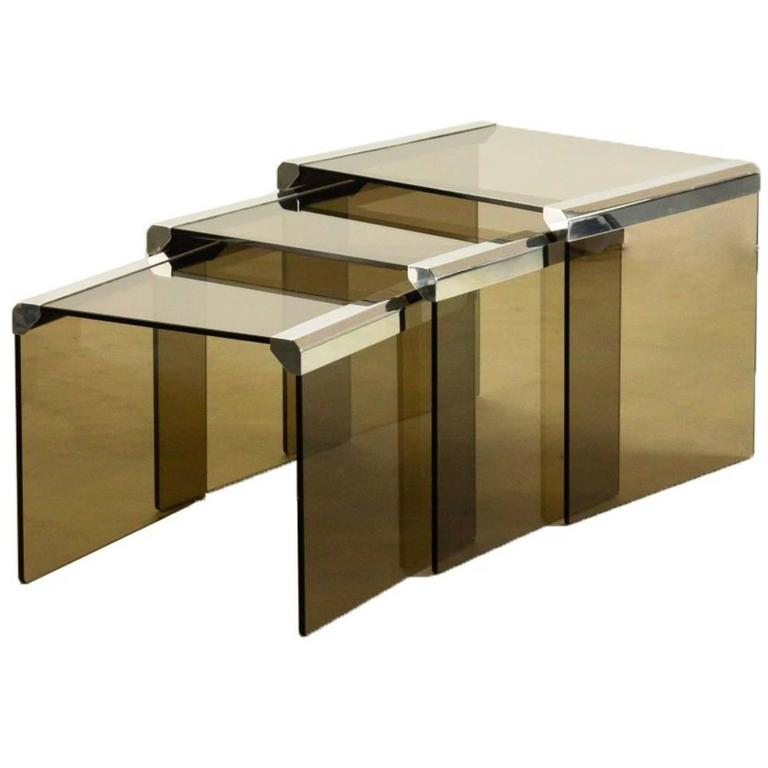 1980s Pierangelo Gallotti, Set of Three Glass and Chrome Gigognes Side Tables
