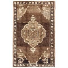 Vintage Brown Turkish Rug with Geometric Design