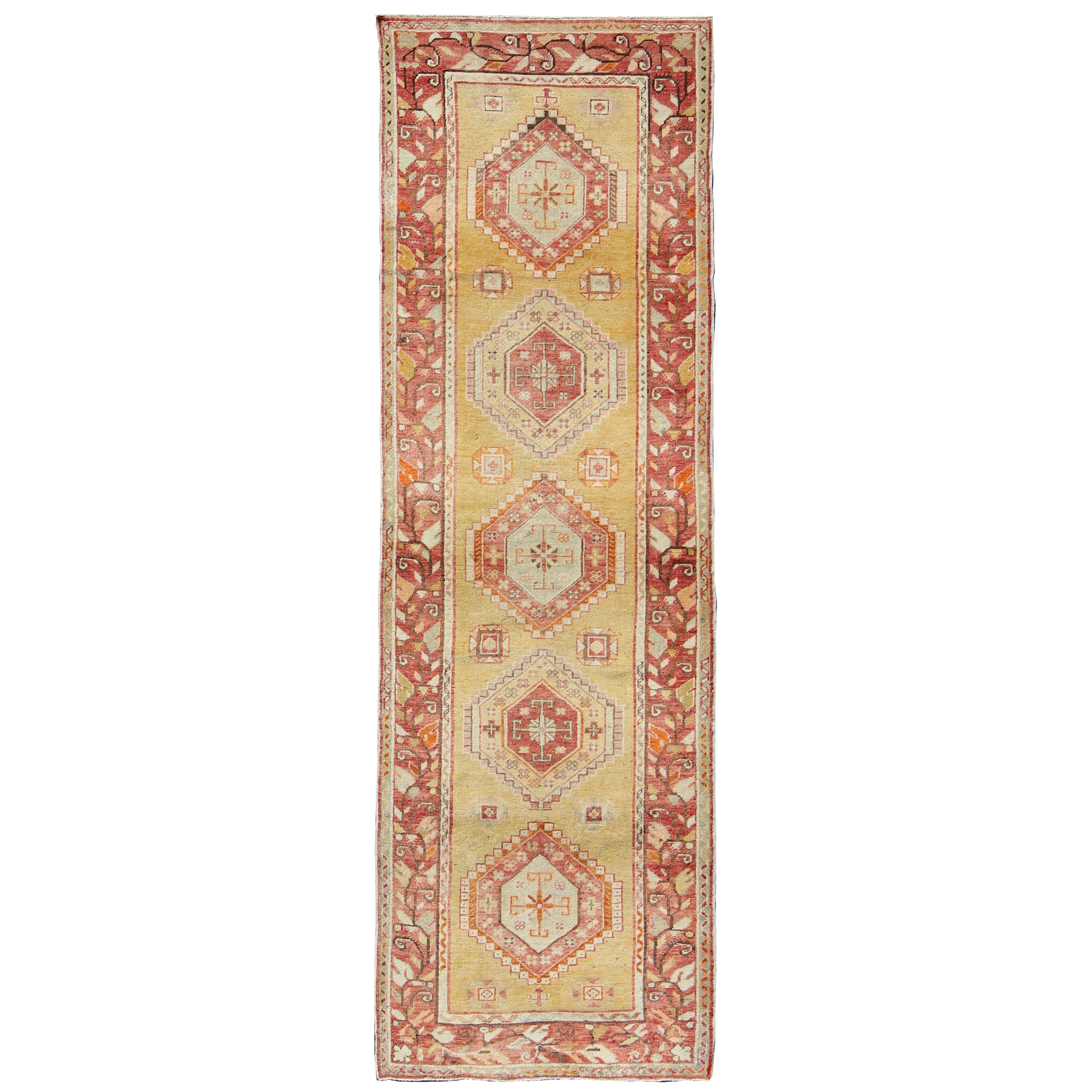 Antique Turkish Oushak Runner with Geometric Medallions in Yellow Background