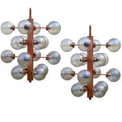 Giant Sputnik Chandeliers Pendants with 16 Glass Globes, Germany, 1960s
