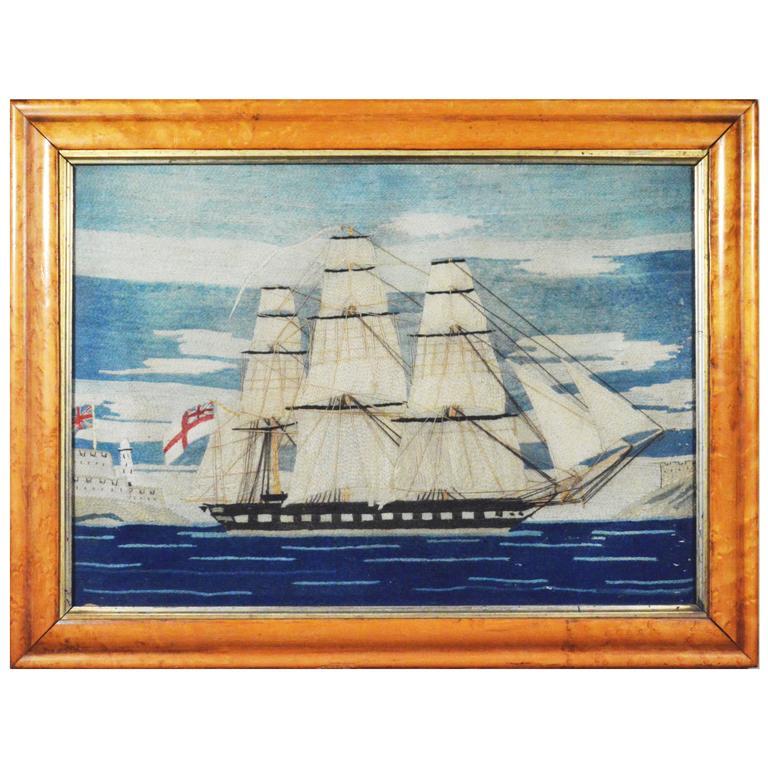 British Sailor's Woolie Woolwork of a Royal Navy Ship, circa 1865-1875