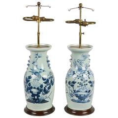 Pair of 19th Century Chinese Blue and White Vases/Lamps