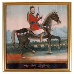Chinese Export Glass Picture of a Persian Warrior
