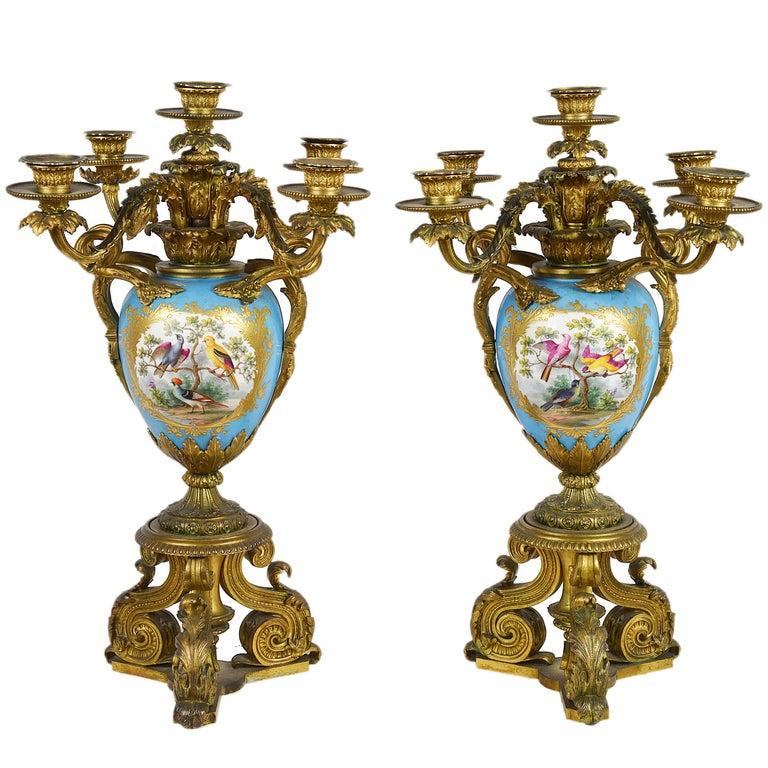 Large Pair of Antique Sevres Candelabra For Sale
