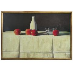 Contemporary Realism Still Life Oil on Canvas with Apples by G. B. Valverde