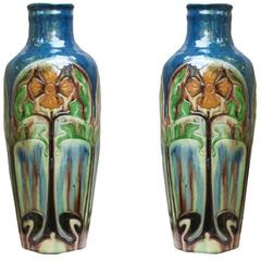 Pair of Belgian Ceramic Vases with Arts and Crafts Stylized Floral Motifs