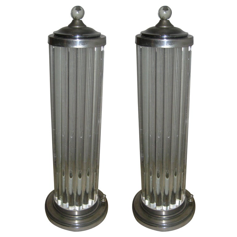 Pair of 1940s, Venini Canister Lamps For Sale