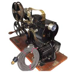 Pathe 28mm Hand Crank Movie Projector, circa 1918, with Film, Vintage Sculpture
