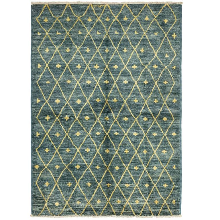 Blue Moroccan Area Rug, Solo Rugs For Sale At 1stdibs
