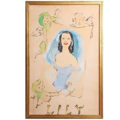 An Original Marcel Vertes Large-scale Gouache of Lily Pons