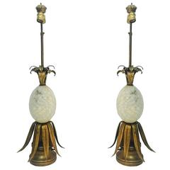 Pair of Alabaster Pineapple Table Lamps