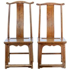 Near Pair of 19th Century Chinese Elm Chairs