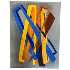 Orange and Blue Abstract on Grey by George Mullen