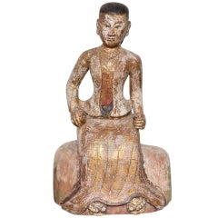 Burmese, 19th Century Teak Wood Statuette of a Woman in Traditional Costume
