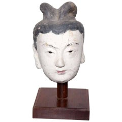 Ming Dynasty Polychrome Stucco Head of a Court Lady with Original Paint