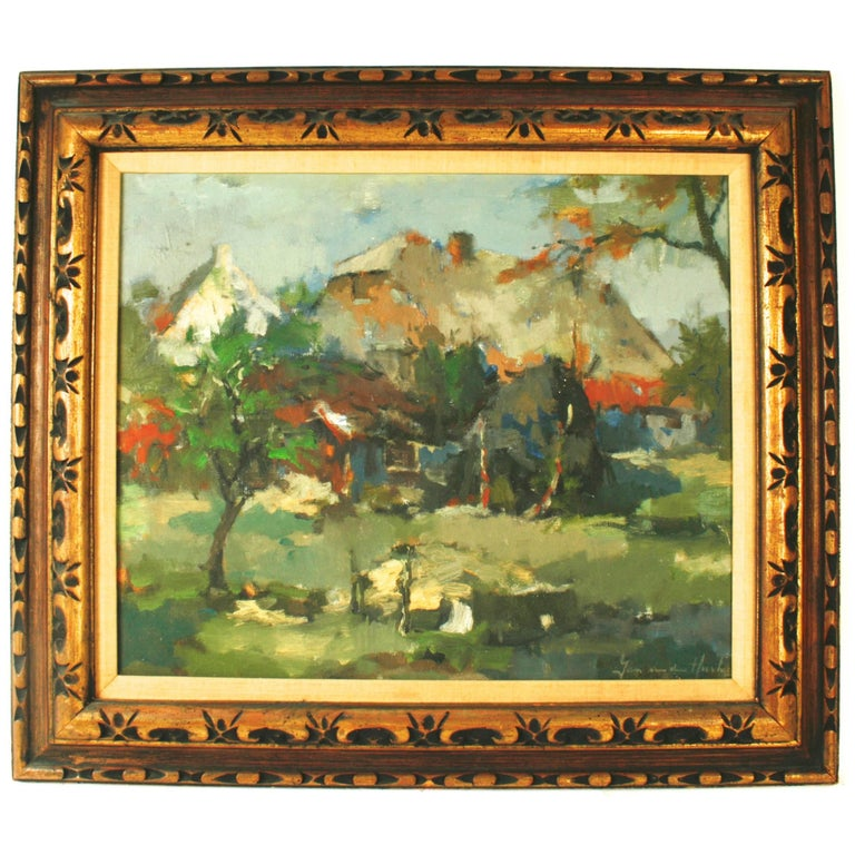 Dutch Landscape Painting by Jan Van Den Hurk, Mid-20th c For Sale