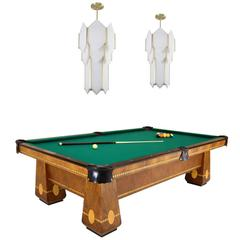 Brunswick Medalist 1940s Pool Table with Art Deco Style Skyscraper Chandeliers