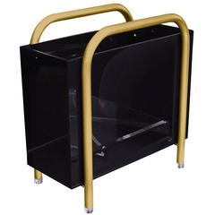 Brass and Bronzed Lucite Magazine Holder by Charles Hollis Jones